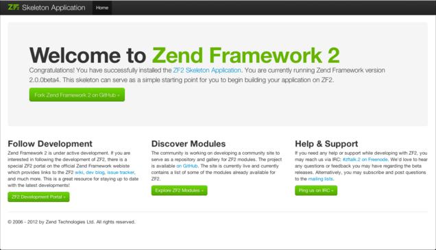 Tela inicial do Zend Framework 2