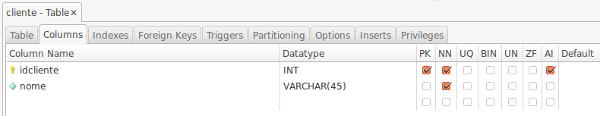 MySQL Workbench new column