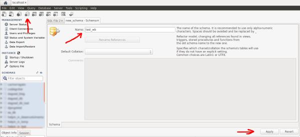MySQL Workbench novo DB