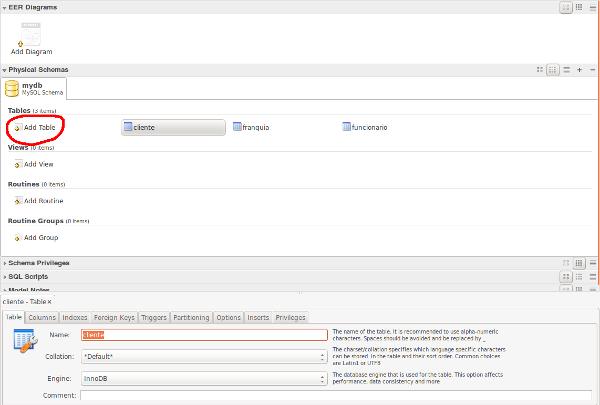 MySQL Workbench new table